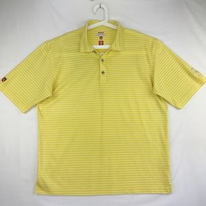 Antigua Golf Mens Yellow Striped Polo Embroidered